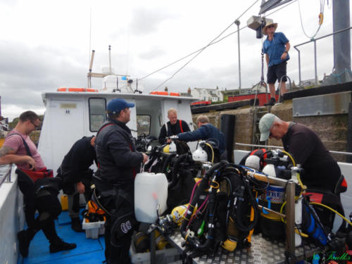 Loading the boat from the winch.