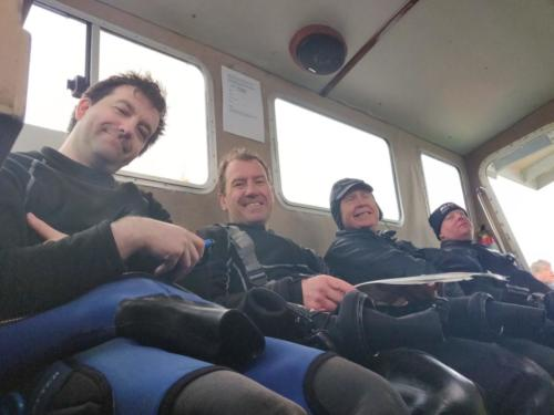 Divers in the wheel house.