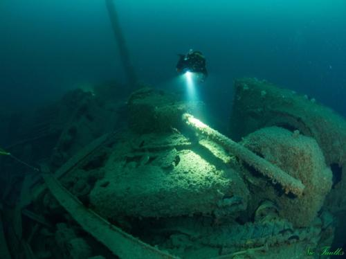 SS Empire Heritage, sunk in 1944, torpedoed by U482, had a cargo of Sherman tanks on board. They now litter the seabed.