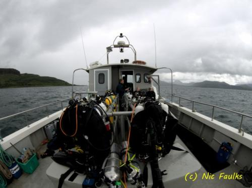Dive boat on the Sound of Mull