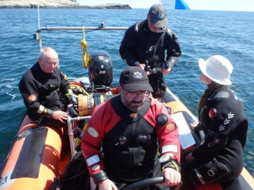 Crew on RIB, diving Gun Rocks