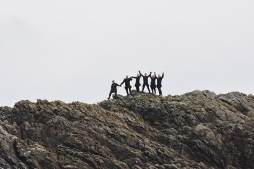 Group on rock